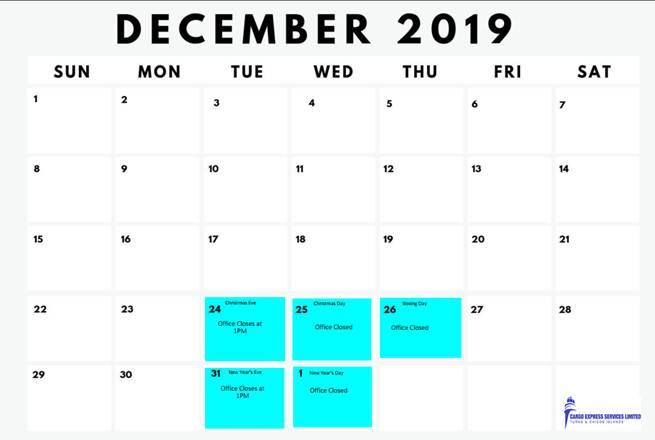 December 2019 schedule